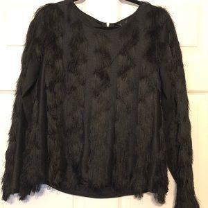 Ann Taylor black fringe blouse